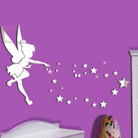 Wholesale Tinkerbell Decal Stickers - 26pcs set Tinkerbell Fairy Wall Mirror Acrylic Mirrored Decorative Tinker bell Wall stickers Home Decoration Wall Art Paper