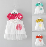 Wholesale Color Dot Flower - 2017 Hot Candies Color Flower Dot Baby Girl Dress Elastic Cuff Pearl Waist Dot Tulle Dress for 1-3 Years Baby Four Colors Free Shipping