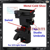 Wholesale Umbrella Swivel - Wholesale-Metal Flash Stand Cold Shoe Umbrella Holder Swivel Bracket B Type For Studio Flash Light Stand PF261