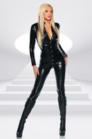 Wholesale Tight Fitted Jumpsuits - Unique Black Sexy Catsuit Rivet Buckle Long Jumpsuit Ladies Tight-fitting Bodysuit Playsuit Catwoman Outfit Dancing Wear
