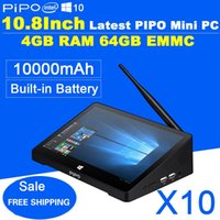 Wholesale Pipo Tablet Calling - Newest 10.8 Inch 1920*1280 PIPO X10 Mini PC Full HD Android TV Box Z8300 Quad Core 4G RAM 64G ROM HDMI Media Box Bluetooth Win10