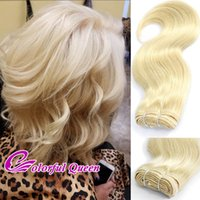 perruque vierge faisant des cheveux achat en gros de-ColorfulQueen 300g / Lot 613 Blonde Human Virgin Hair Weave Body Wave Platine Blonde Cheveux Humains Bundles Body Wave Making Bob Wigs 6pcs 10Ich