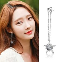 Novo design coreano 30% Silver Plated Long Chain Shining Crystal Stars Dangle Drop Earrings para mulheres Wedding Jewelry SY