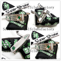 Wholesale Irons Cover - 2017 new US dollars Wealth dark green Golf clubs putter with putter cover driver CNC steel 34 35 36 golf club putter driver bone iron cover