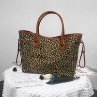 Wholesale Leopard Bags Wholesale - Leopard Canvas Tote Wholesale Blanks Patchwork Cheetah Purse PU Handle and Magnetic Snap Closure Large Handbag DOM106388