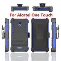 Heavy Duty Rugged Defender Housse d'armure hybride Kickstand pour Alcatel One Touch Fierce XL 4 Idol 3 4 Housse Ceinture Clip Holster Antichoc
