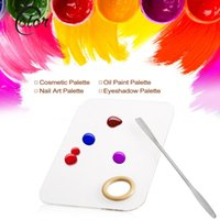 Wholesale Stainless Steel Spatulas - Wholesale-High-grade Acrylic Nail Art Mixing Palette Stainless Steel Spatula Cosmetic Eyeshadow Makeup Mixing Palette Make Up Nail Tool