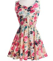 Wholesale Beach Clothes Factory - Chiffon printed dress 2017 Hot selling Women Clothing Sleeveless Short Casual Beach dresses factory directly supply