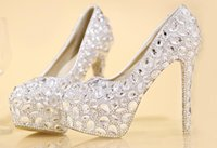 Wholesale Cheap Crystal Shoes For Wedding - High Heeled Shoes for Wedding Bridal with Silver Crystal Stock Fast Shipping Runway Party Cheap Round Toe Platform Pumps Accessories