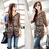 Wholesale Elegant Chiffon Blouse Belt - 2017 New Elegant cardigan blouse womens tops clothing with Belt plus size Fit Slim Leopard Chiffon Casual Tunic Long Top