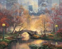 Wholesale Modern Oil Painting Fall - Central Park in the Fall Thomas Kinkade Oil Paintings Art Wall Modern HD Print On Canvas Decoration No Frame
