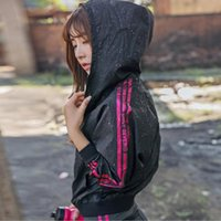 Wholesale long black hooded cardigan - 2017 summer loose paint little print hooded long-sleeved cardigan leisure sports fitness sun clothing short jacket