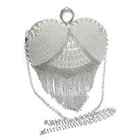 Wholesale Clutch Bag Ring Handle - Wholesale-HOT Heart tassel rhinestones women evening bags pearl lady's handle evening bag ring diamonds clutches
