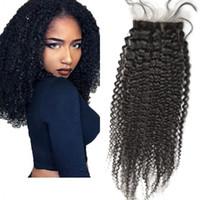 Wholesale hidden knots closure resale online - Afro Kinky Curly Silk Base Closure with Hidden Knots Brazilian Virgin Hair Natural Color Silk Closures inch FDSHINE