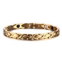 stahlheilungsarmband großhandel-Mode Frauen Gold Farbe Healing Energy Negative Ionen Infrarot Edelstahl Germanium Magnetische Armband für Frauen Weihnachtsgeschenk B813S