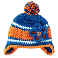Knit Football Baby Hat Handmade Crochet Baby Girl Chapéu da equipe de futebol com flores Kids Striped Pompom Winter Hat Infant Toddler Photo Props