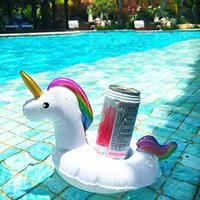 Wholesale Wholesale Pool Supply - PVC Inflatable Drink Cup Holder White Unicorn Beverage Holders Pegasus Floating Glass Pool Beach Stand For Party Beach Pool Supply DHL
