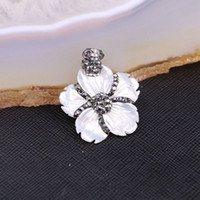 Wholesale White Shell Flower Necklace - 5pcs Carved Flower Shell Pendant, Sea Shell Pendant with Crystals, White Shell Jewelry
