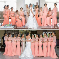 Wholesale Beautiful Silver Bridesmaid Dresses - Arabic African Coral Peach Blush Long Bridesmaid Dresses with Half Sleeves Plus Size Lace Mermaid Party Dress Beautiful Bridemaid Dresses