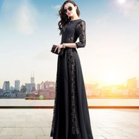 Wholesale Lace Women Maxi Dress - Free Shipping 2017 New Spring Autumn Female Three Quarter Black Slim Lace Maxi Dress Women Floor Length Elegant Dress Vestidos
