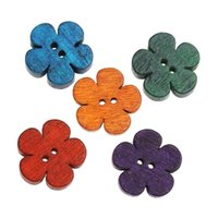 Wholesale Clothing Embellishments Wholesale - Kimter Radom Mixed Flower Pattern Sewing Wooden Buttons 2 Hole 19x18mm For Art Crafts Clothes Embellishments Pack Of 100pcs I638L