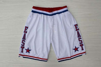 Wholesale Top Quality All Star Shorts Revolution Swingman Men Basketball Shorts White Authentic Stitched Embroidery Logo Mix Order