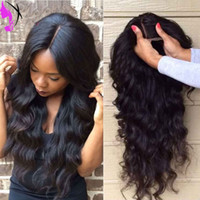 Wholesale Medium Brown Cheap Wigs - Cheap body wave Synthetic Lace Front Wigs Heat Resistant Long Black  brown   blonde   burgundy lace front sythetic Wigs for black women