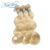 Wholesale Bleaching Machine - Wholesale-New Star hair #613 bleached platinum Blonde Brazilian virgin Human Hair body wave weaves wavy extensions machine weft 3 bundles