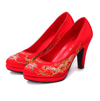 Wholesale Lace Ballet Flat Shoes - Chinese Style Wedding Red Shoes High Heels Bridal Shoes