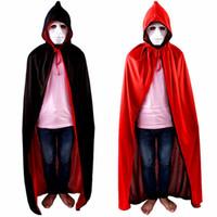 mann capes groihandel-2018 Halloween Cosplay Vampir Kostüm Kleidung Für Männer Kinder TV Show Bloodsucker Kostüm Umhang Cape Wind Staub Stehkragen Und Mit Caps