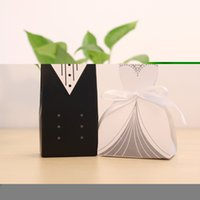 Grossiste-100pcs Wedding Dragees Box Décoration Mariage Party Supplies Douce Candy Box Dragees Marié Noir + Blanc