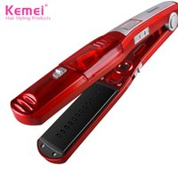 Wholesale Hair Straightener Ceramic Red - KeMei Steam Hair Straightener Nano Ceramic Coating Plate Hair Straightening Iron Vapor Hair Styling Tools Fast Heating KM-3011