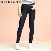 Wholesale Ladies Colored Pants - Wholesale- Giordano Women Jeans Solid Slim Fit Jean Pants Stretchy Trousers Femme Denim Clothing Ladies Casual Apparel Vetement