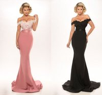 Wholesale Country Evening Dresses - Country Style Off The Shoulder Prom Dresses 2017 Lace Appliques Sweep Train Sexy Backless Button Backless Formal Evening Gowns Free Shipping