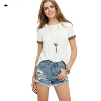 Fly_win 2017 Ladies Beige Camisetas bordadas manga curta Summer New Style Round Neck Loose Tops Casual T-shirt