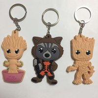 Wholesale Galaxy Trendy - Guardians of the Galaxy Groot Rocket Racoon Keychain Carton Plastic PVC Key ring Key Chains Fashion Jewelry 170852