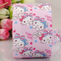 Sweet Pink Cartoon напечатал Grosgrain 22MM 7/8 '' 100yards Bunny Rabbit Ribbon Rolls Party Supplies Подходит для детей Baby Girls Bow Bow Jewelry