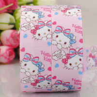 Sweet Pink Cartoon Printed Grosgrain 22MM 7/8 '' 100yards Coelho Rabbit Ribbon Rolls Party Supplies Fit Kids Baby Girls Hair Bow Jóias
