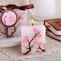 ingrosso regali di anniversario liberano il trasporto-Il trasporto libero 50PCS Cherry Blossom Candle Favors Bridal Shower Wedding Giveaways Anniversario Souvenir Regali del partito