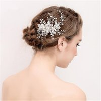 Wholesale Wholesale Swarovski Hair Pins - Vintage Swarovski Hair Comb Wedding Headpiece Bridal Crystal Rhinestone Silver Leaf Hair Accessories Jewelry Crown Tiara Pearl Headdress Pin