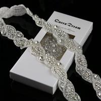 appliques de cristal achat en gros de-Vente en gros- 1 Yard argent strass garniture strass cristal applique pour la ceinture de mariage 1