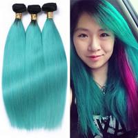 siyah saç uzatmalar 18 inç toptan satış-Koyu Kök Renk 1B Yeşil Bakire Saç 3 Demetleri 10-30 Inç Ombre Doğal Siyah Bebek Yeşil Düz Saç Uzantıları 3 Adet / grup