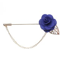 Wholesale Trendy Suits For Women - Wholesale- Trendy Handmade Flower Brooch Lapel Pins for Women Men Suit Boutonniere Button Stick Brooches Wedding Party Jewelry 3651
