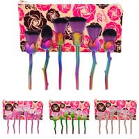Wholesale Soft 3d Flower - 3D Rose Flower Shape Makeup Brushes Set Cosmetic Tools 6 Pcs Soft Rose Flower Makeup Brush kit Contour Face Powder Eyeshadow Mermaid Brushes