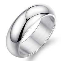 красивое золотое кольцо пальца оптовых-красивые обручальные мужские 7 мм серебро Титана нержавеющей стали обручальные кольца в палец высокой полированной куполообразной 18k белого золота группа
