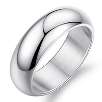 Wholesale Beautiful Mens Rings - beautiful engagement Mens 7mm Silver Titanium Stainless Steel Wedding Rings in Finger High Polished Domed 18k White Gold Band