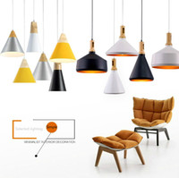 Wholesale Contemporary Pendants - Dining Room Pendant Lamps Modern Colorful Restaurant Coffee Bedroom Pendant Lights Iron Real Wood Material AC110V 220V E27