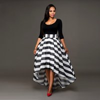 Wholesale Striped Chiffon Long - Tinderala Women Black and White Dresses Ankle Length Dress Two-piece Suit Solid Color Long-Sleeved O Neck T-shirt And Striped Skirt