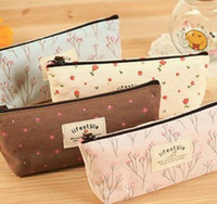 Wholesale Cotton Pouch Bag Wholesale - Vintage Floral Fabric Coin Purse wallet pencil Pen Case Cosmetic Makeup Bag Storage Pouch Students Stocking Filler Gift Party favor 4colors