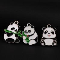 Wholesale Silver Panda Wholesale - Small Panda Animal Charms Pendants 42pcs lot 3styles Stylish Pretty Three Models Enamel Lovely 24mm*30mm L1725